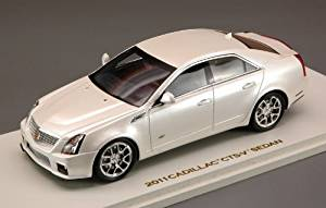 Luxury Collectibles 1/43 Scale Prefinished Fully-Detailed Resin Model, 2011 Cadillac CTS-V Sedan in White Diamond #101188