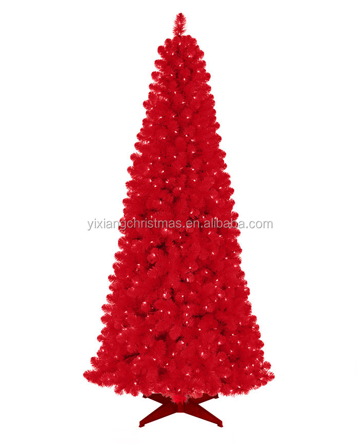 new arrival red x-mas tree pre-lit christmas tree hot sale red pine needle christmas tree with led lights metal stand