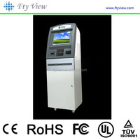 Self Service Financial Bank Payment Kiosk with Bill Validator Credit Card Reader Optonal