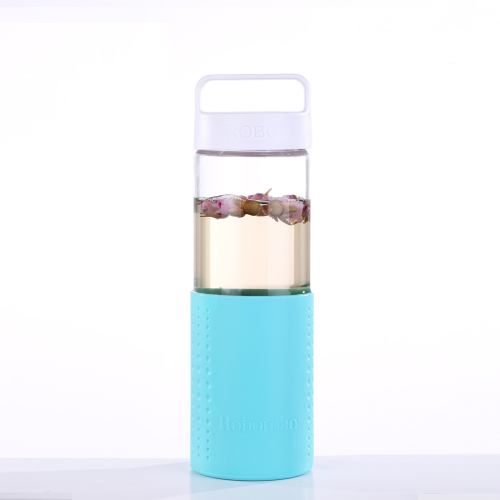2018 new product voss water glass drinking bottle with silicone sleeve