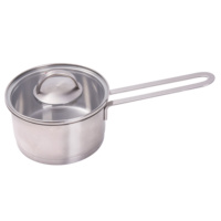 High Quality 304 Stainless Steel soup pot sauce milk pan with Tempered glass lid 14CM