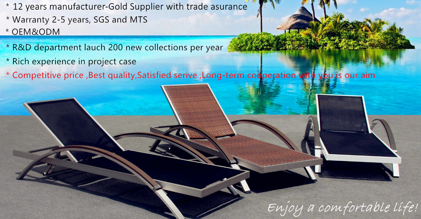 Hot sell Outdoor wicker rattan furniture recliner Hotel resort Swimming pool chaise lounger chair patio garden Beach Sun Lounger
