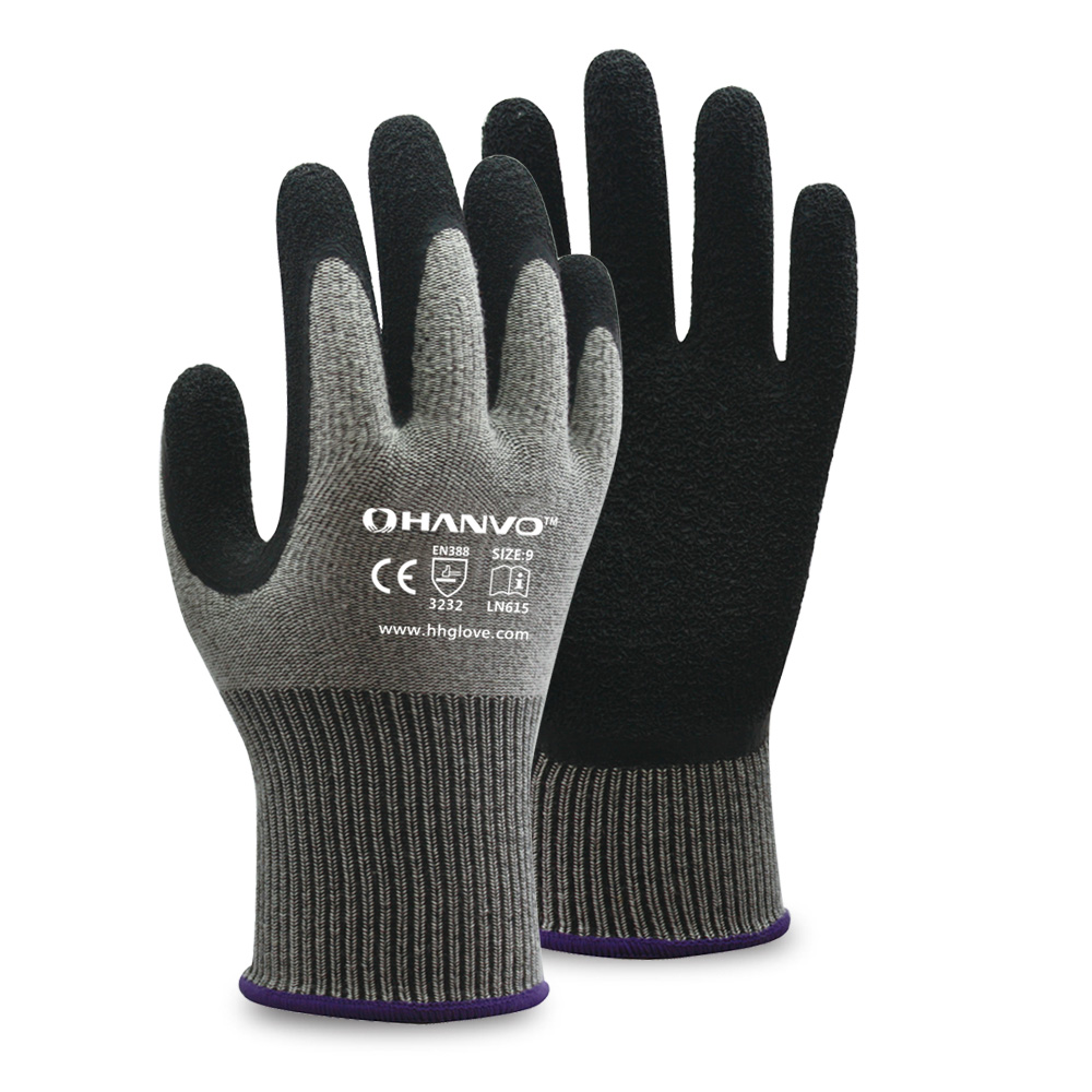 HANVO 13G Fleeced Cotton/Spandex Liner with Smart Grip Latex Coating Glove