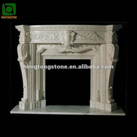 Carved Indoor White Marble Fireplace Surround
