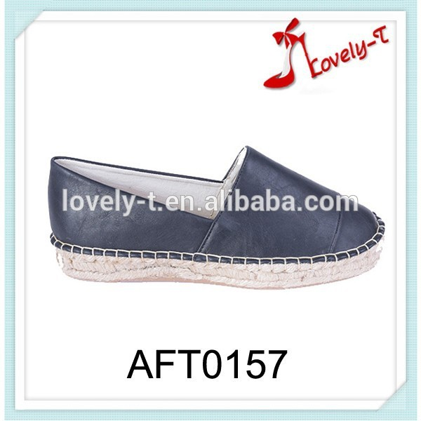 Latest LINEN insole flat casual shoes slip on flat shoes