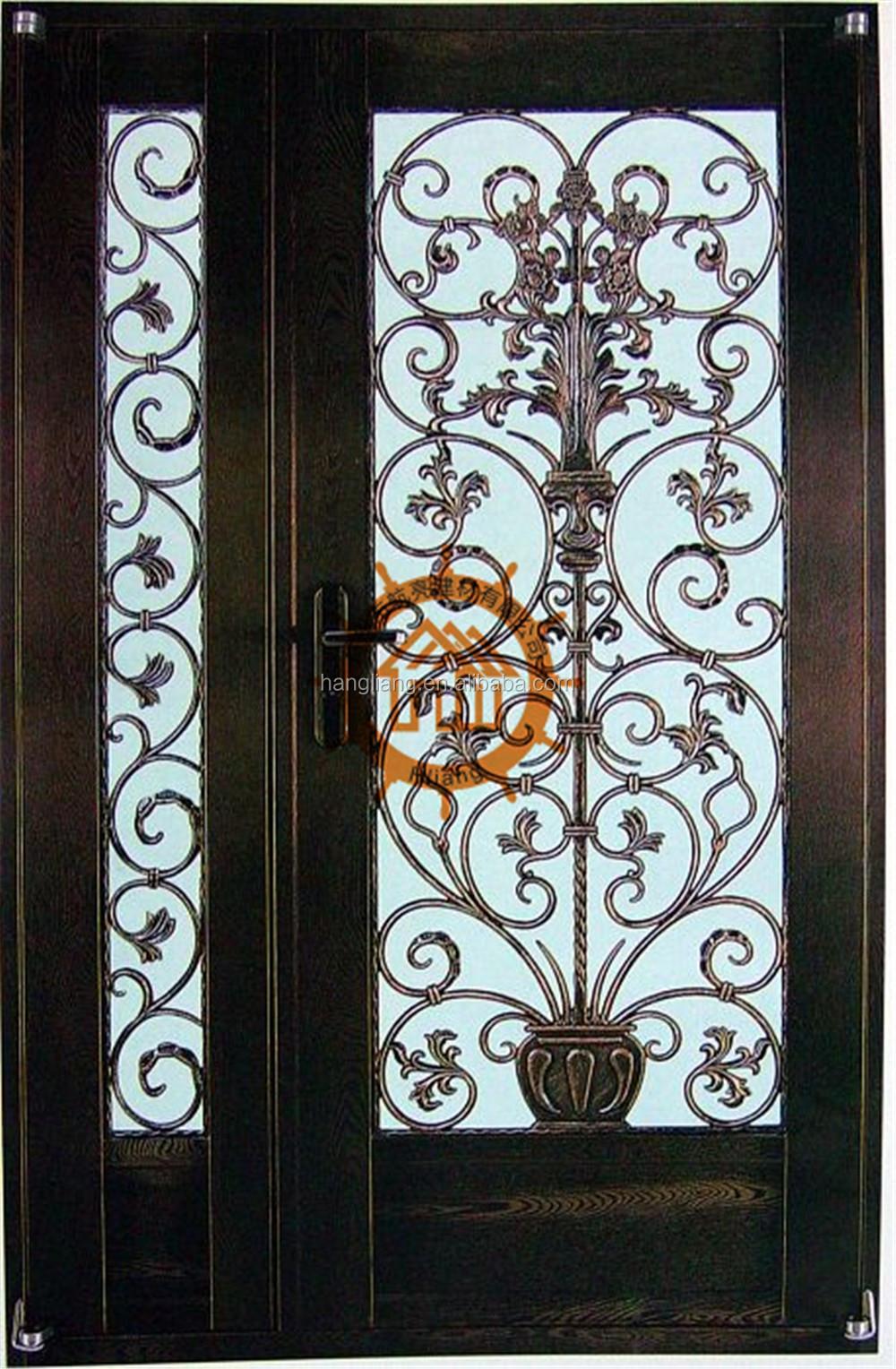 2017 double entr e en fer forg porte en verre tremp hl i d 136 portes id de produit for Porte entree fer forge verre