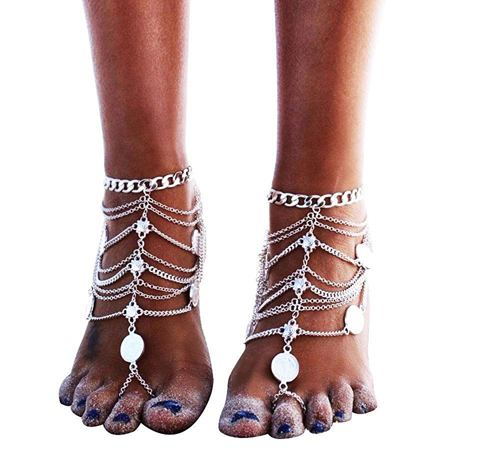 MINGHUA Boho Vintage Silver Tone Gold Tone Coin Blessing Symbol Tassel Indian Anklets Foot Jewelry