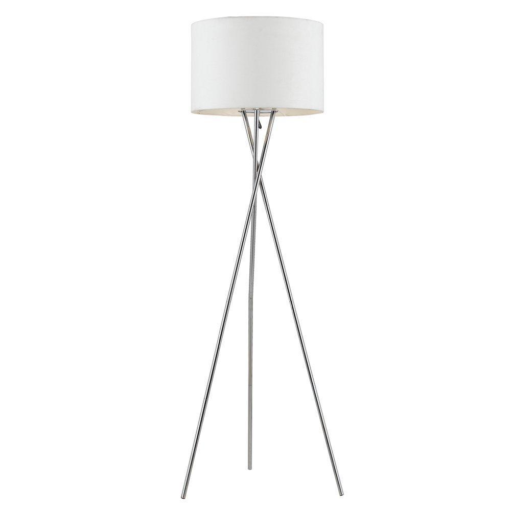 Euro Style Collection Lisboa Tripod Metal Body Modern Floor Lamp, White