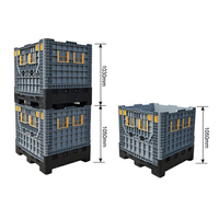 collapsible and stackable plastic pallet container for industry storage
