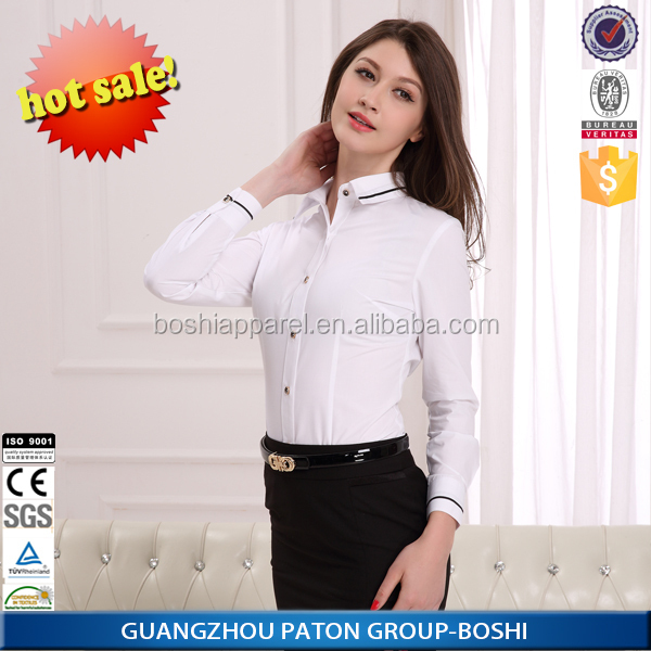 China fashionable ladies business formal shirts for women for Restaurant uniform shirts wholesale