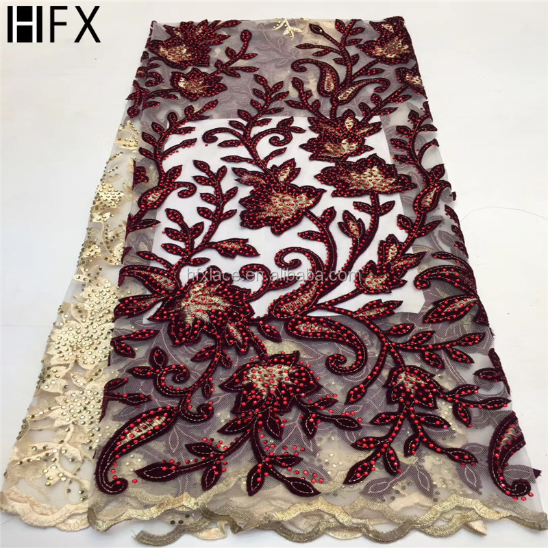 2019 New Designs African Lace Fabric With Big stone African Lace Embroidery Guipure Lace Trim High Quality for Nigerian Dress FREE DELIVERY