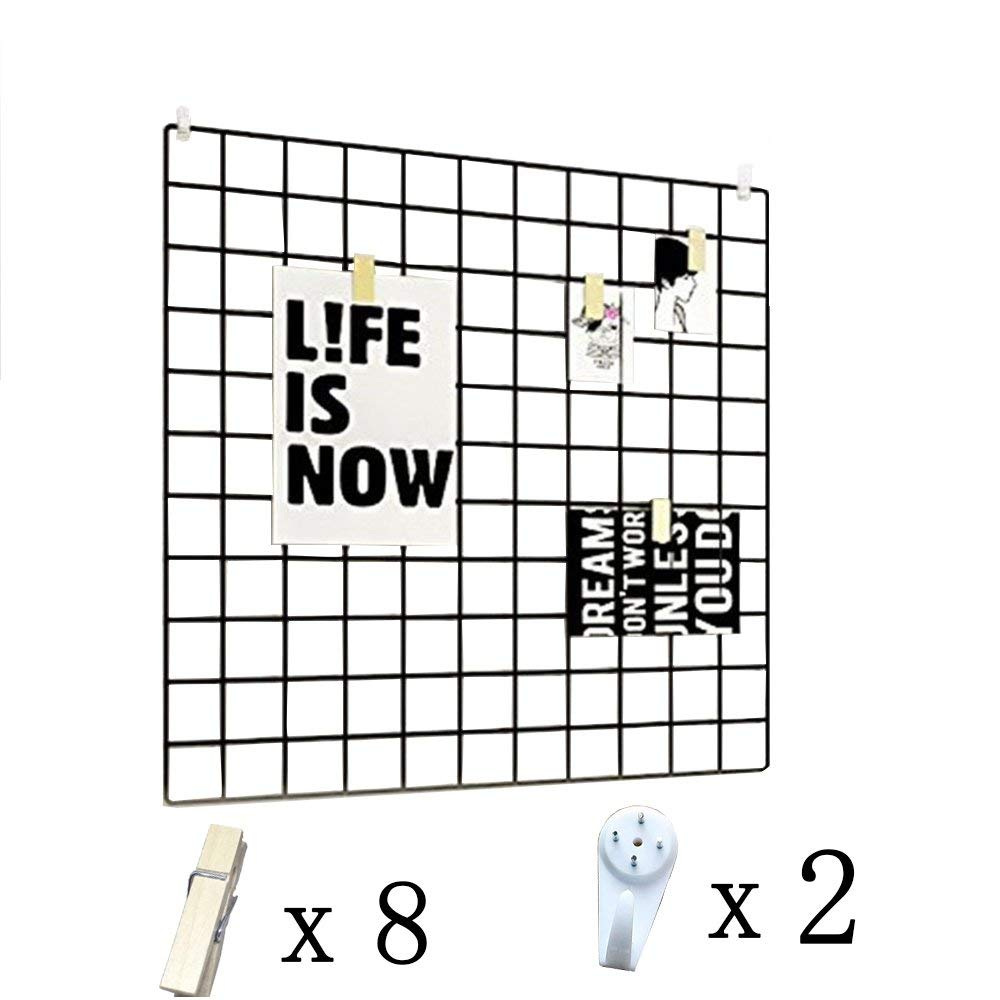 get quotations · wuziling grid photo wall, wire wall grid display panel  decorative iron frame photo wall hanging