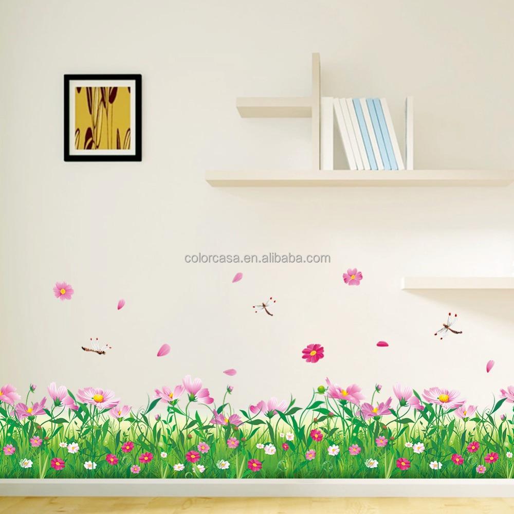 Colorcasazypa 048 N Flores Grama Adesivos De Parede Remov Vel  -> Adesivo Decorativo Na Parede De Tv