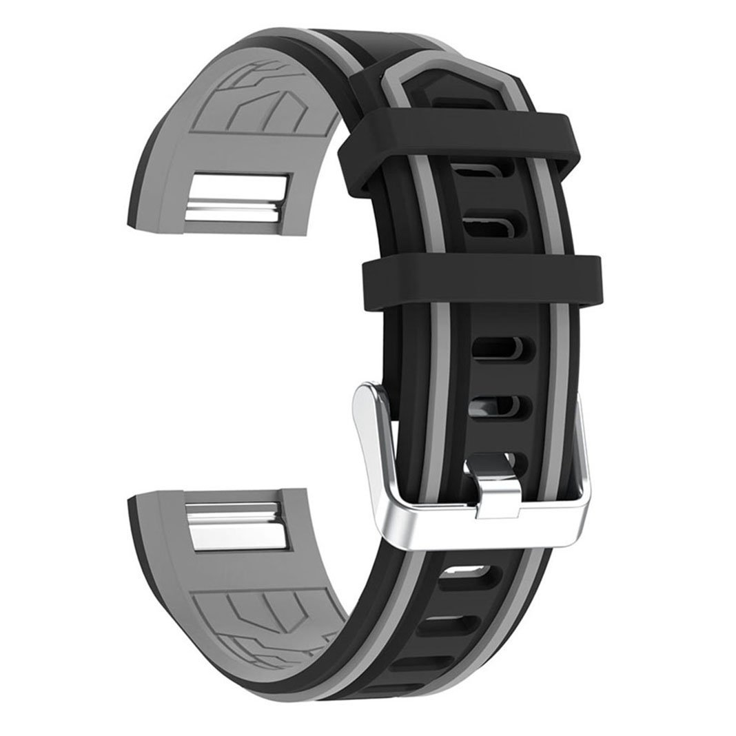 For Fitbit Charge 2 Band Silicone Band, AISPORTS Fitbit Soft Silicone Smart Watch Band Adjustable Replacement Band with Metal Bracelet Buckle Clasp for Fitbit Charge 2 Fitness Accessories - Black/Grey