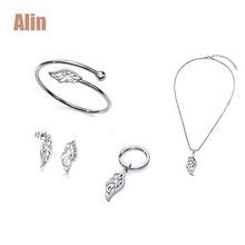 Hottest italian CZ stones leaf crystal stainless steel jewelry set