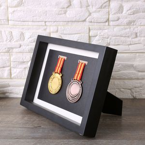A4 Good quality Classic design 3D black Shadow box for artwork show and medal display wholesale solid wood frame