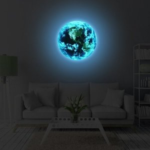 3D Wall Stickers for Kids Glow in The Dark Bedroom Home Decor Living Room Luminous Earth Sticker