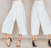 High rise wide leg white pants with detachable waist
