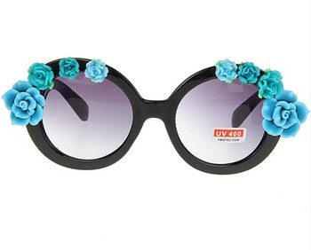 Queena Rounded Shaped Handmade DIY Inlay Flower Cateye Eye Decoration For Women Sunglasses