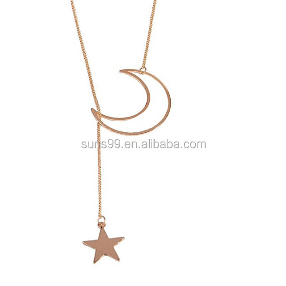 Silver-tone Moon Star Chain Necklace Choker Chain Tie long pendant Jewelry Gift for Women Girl Teen Birthday