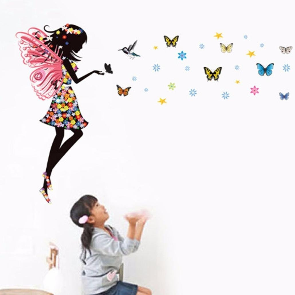 Iuhan® Fashion Butterfly Girl Removable Decor Environmentally Mural Wall Stickers Decal