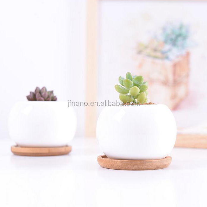 Indoor mini round white italian ceramic flower pots with tray