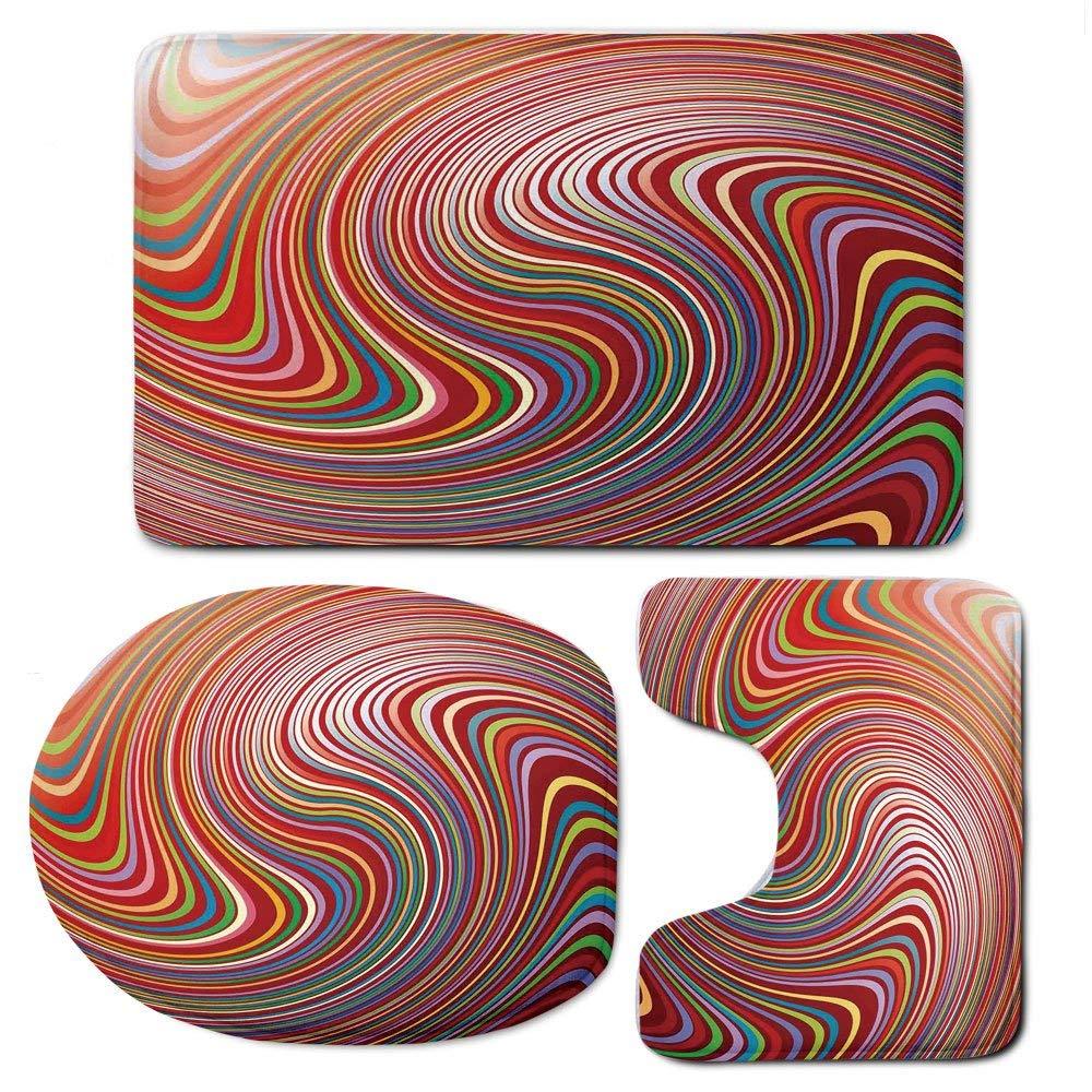 3 Piece Bath Mat Rug Set,Abstract-Home-Decor,Bathroom Non-Slip Floor Mat,Abstract-Swirl-Colors-Twisted-Luminous-Artful-Design-Illustration-Decorative,Pedestal Rug + Lid Toilet Cover + Bath Mat,