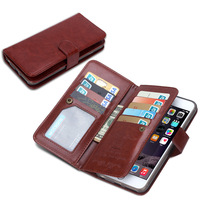 Crazy Horse pattern pu leather 9 card slot wallet phone case for iphone 6s plus