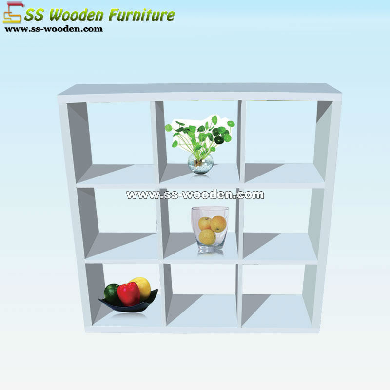 4-tier wooden white book shelf BS-12030126