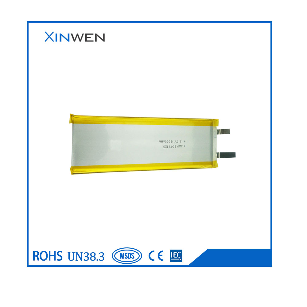 XW 8043125 3.7V 6000mAh high capacity li ion battery