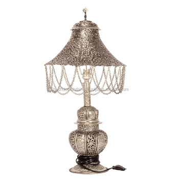 Home Decor Electric White Metal Handicraft Table Lamp Buy Designer Metal Table Lamp Wholesale Supplier Of Silver Plated Items Beautiful Hand Carving