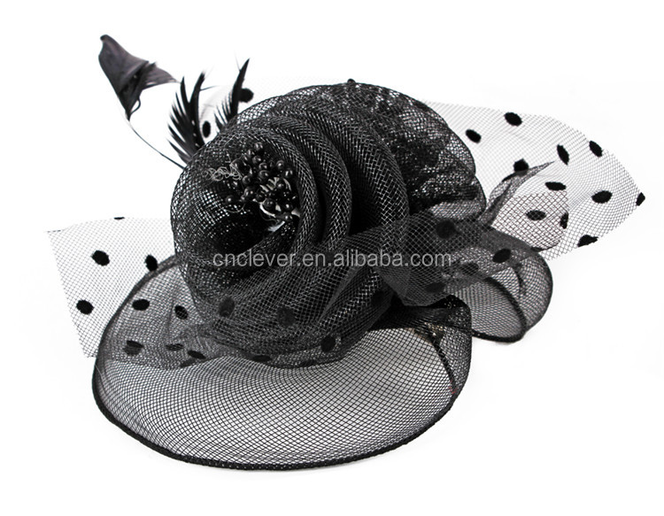 Women fascinators hats black hair accessories headband for church wedding party hairband