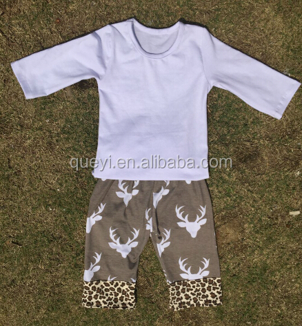 2016 kids summer clothing sets wholesale pure white clothes design and cow pattern short giggle moon remake outfits