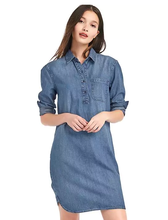classic style ladies denim jeans washed blue plain long shirt sexy dress woman