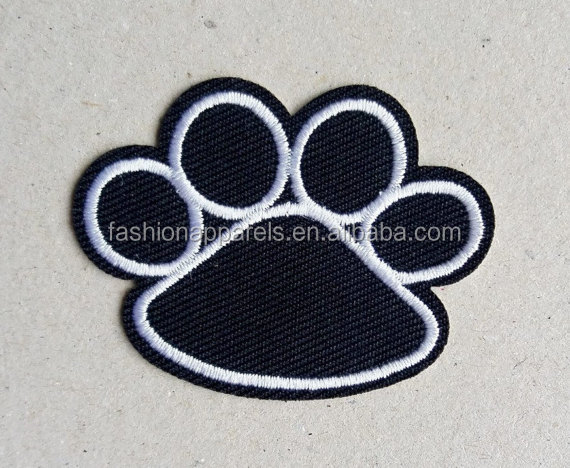 cat paw print, applique design, denim patches