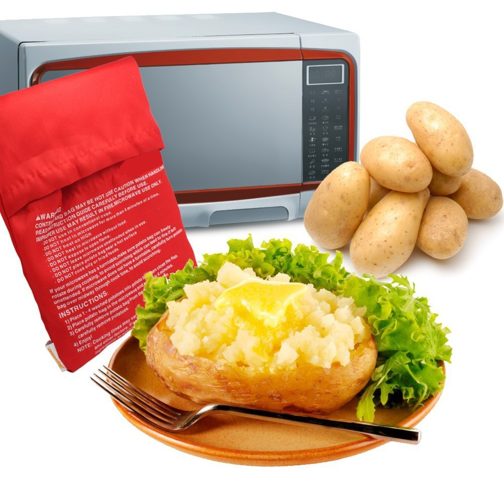 Red Washable Cooker Bag Baked Potato Microwave Cooking Potato Quick Fast (cooks 4 potatoes at once) фото