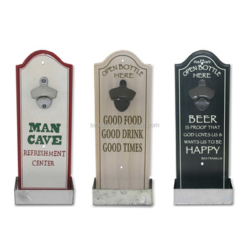 Printed Mdf Wall Mounted Bottle Opener With Tin Catcher