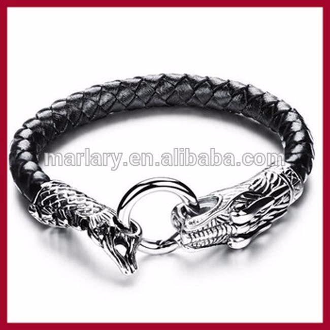 3b8e0fafe7d6 Moda de cuero de acero inoxidable dragón corchete pulsera joyería para  hombres