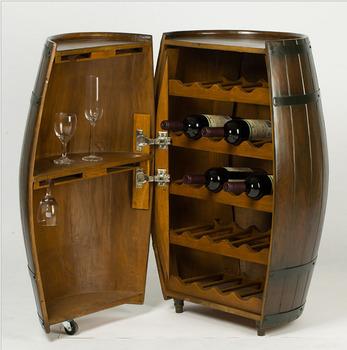 Whiskey Beverage Wine Half Barrel Display Cabinet Storage