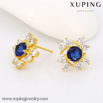 Fashion Women Golden Earrings Designs Extra Long Post Stud