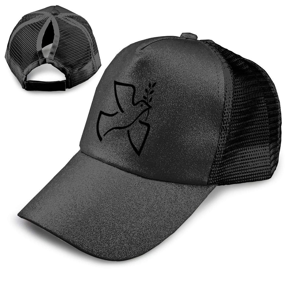 Get Quotations · Peace Symbols Columbidae Olive Branch Ponytail Hats for  Women Messy Trucker Hat Plain Ponytail Baseball Visor 84153f0aeca