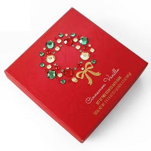 Luxury Christmas New Year soap bath bar cover gem packaging gift box red