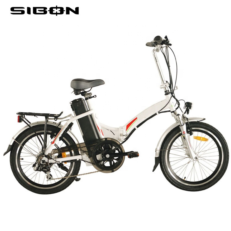 SIBON B0510120 white 250W 36v lithium battery alloy foldable frame brushless motor 20 inch 7 speed electric bicycle <strong>folding</strong>