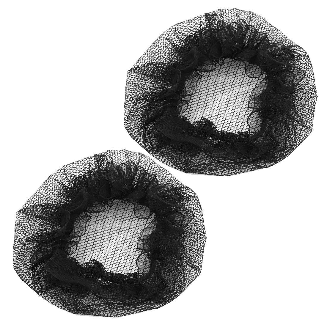uxcell® 2 Pcs Nylon Mesh Stretchy Ballet Bun Hair Covers Hairnet Black for Woman