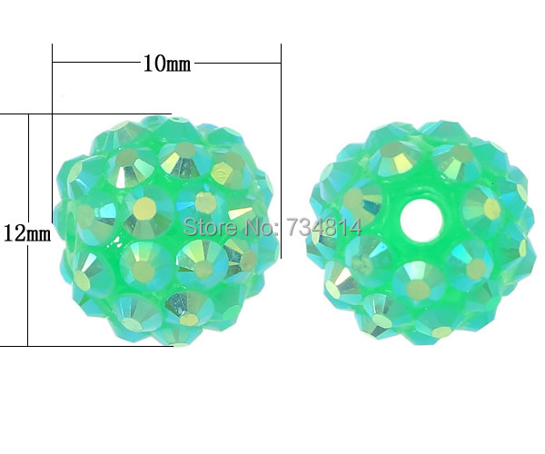 Free shipping!!!Resin Rhinestone Beads,2014 new arrive mens, Round, colorful plated, green, 10x12mm, Hole:Approx 2.5mm