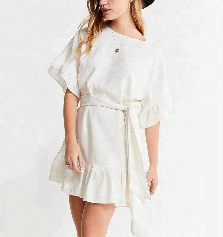Fashion White Linen Ruffle Tie <strong>Dress</strong>