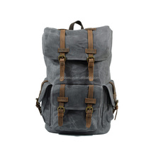 Retro waterproof oil waxed canvas leather travel large capacity outdoor mountaineering double shoulder vintage canvas backpack