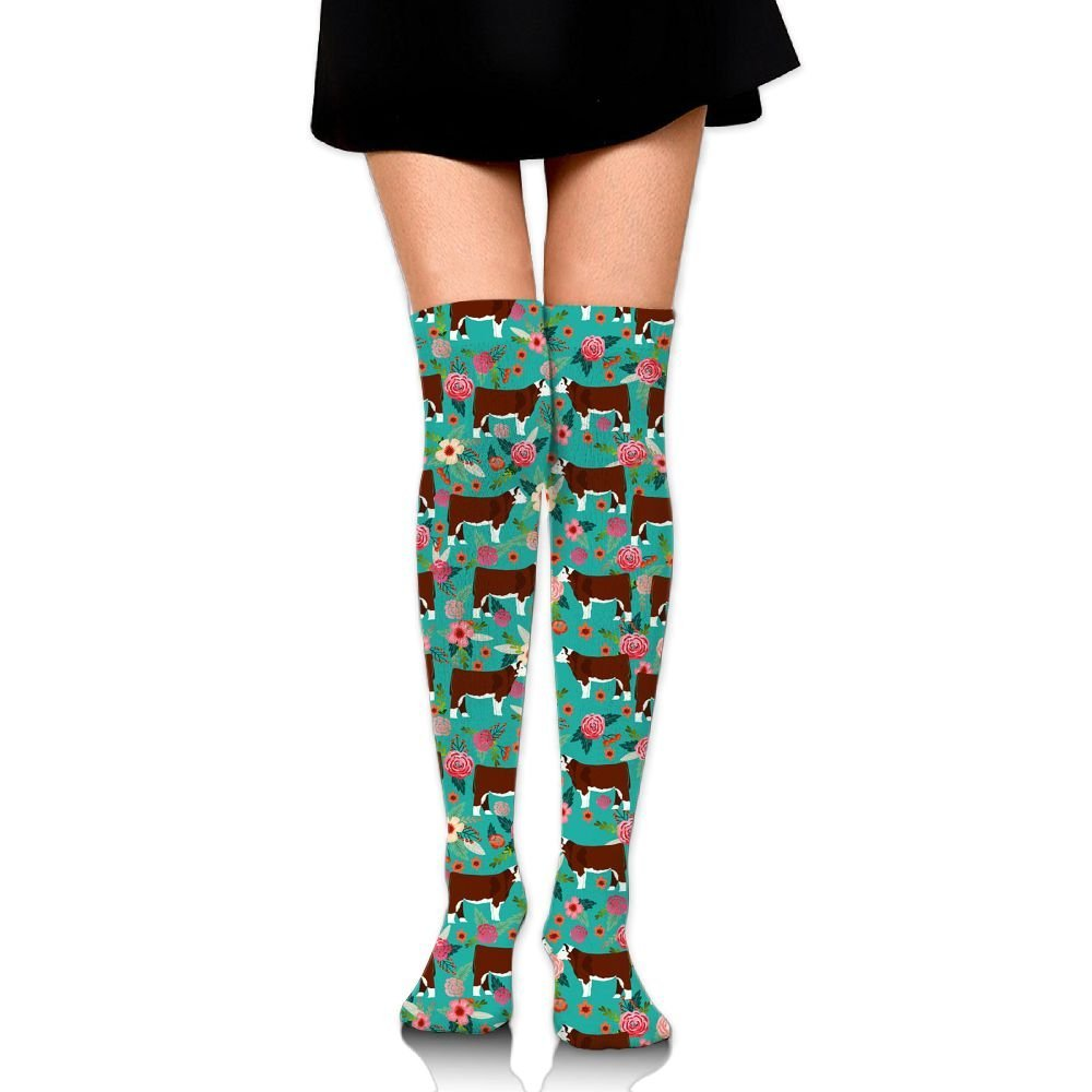 a92bd28c0bd38 Get Quotations · Hereford Cow Cattle Floral High Socks Knee Socks Athletic  Socks Fit Boosts Casual Solid & Fashion