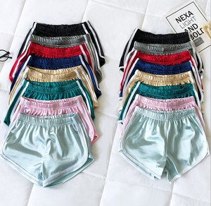 X85124B new korean satin solid color sports shorts women running shorts