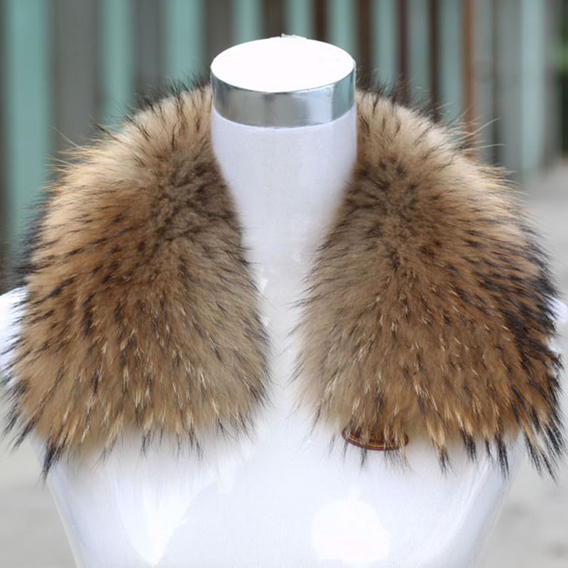 Factory supply natural color raccoon fur collar for clothing wholesale